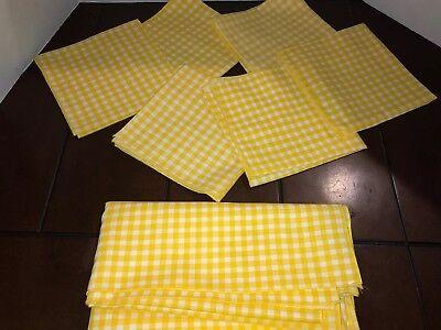 "Yellow Gingham Tablecloth Napkins 14"" Set Of 6 Plaid 44"" Farmhouse Free Shipp ()"