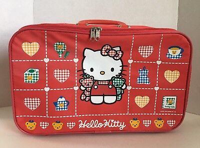 "Vintage Sanrio Hello Kitty Suitcase 16"" x 10"" 1994 Red Plaid Teddy Bears"