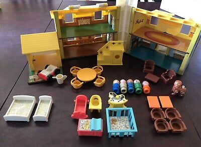 Vintage Fisher Price Little People Play family Yellow House 1970s