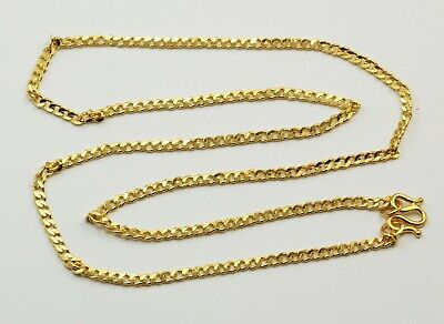 24K Solid Yellow Gold Flat Cuban Link Chain Necklace 12.8 Grams