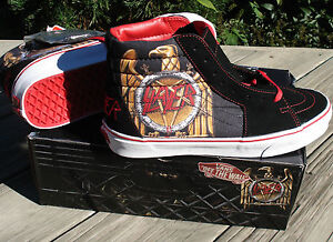 New-Vans-SLAYER-Skate-Hi-Shoes-High-Top-Trainers-Retro-Black-Red-Mens