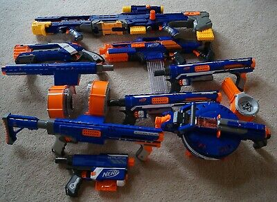 NERF N-STRIKE Elite Lot 9 guns +  magazines Hail Fire Raider Rapidstrike Rampage