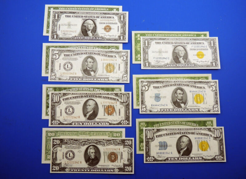 WWII Reproduction Currency Set WW2 US Paper Money Copy