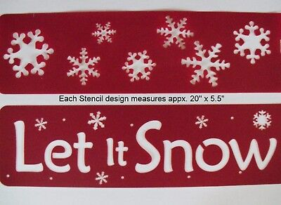 Lot of 2 Large STENCILS Let It Snow & Snowflakes Christmas Winter   NEW