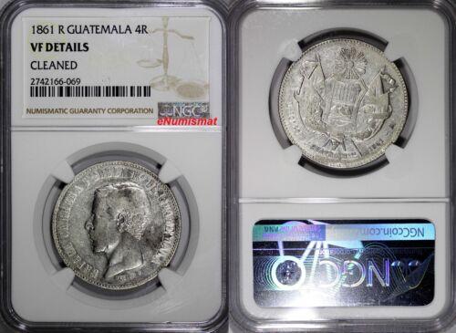 Guatemala Silver 1861 R 4 Reales NGC VF DETAILS Rafael Carrera SCARCE KM# 136