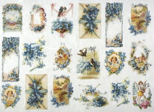 Rice Paper for Decoupage Scrapbook Craft Sheet Blue Flowers Small