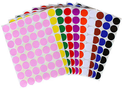 Color Coding ~3/4 Inch 17mm Small Dots Stickers Round Circular Labels 336 Pack - Colored Dot Stickers