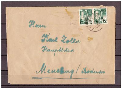 Baden, MiNr. 4 a II MeF Gengenbach nach Meersburg 02.06.1948