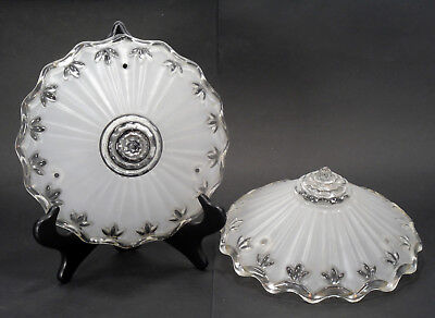 "Vintage Set of Two 10.5"" Round Fluted Pressed Frosted Glass Hanging Light Shades"