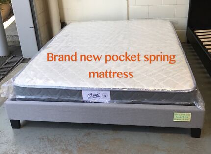 Brand new pocket spring mattress with bed base frame Queen$350