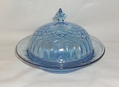 US Glass AUNT POLLY BLUE *BUTTER DISH w/LID*