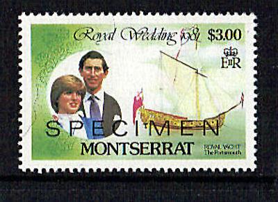 MONTSERRAT 1981 ROYAL WEDDING $3 VALUE OVERPRINTED SPECIMEN MNH