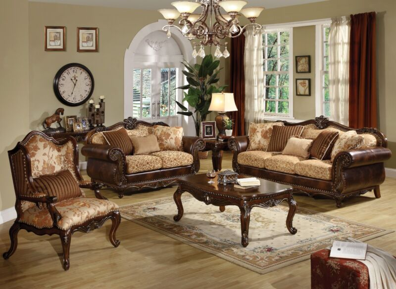 Remington Traditional Formal Sofa Set Decorative Sofa Back Crown & Feet Loveseat
