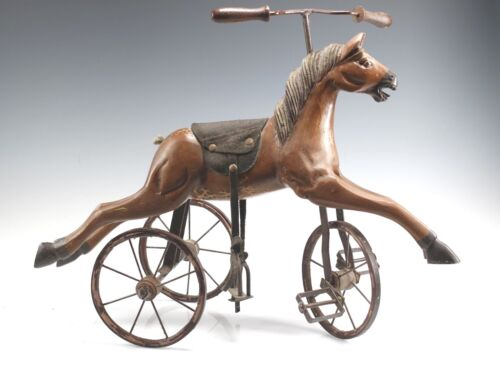 VINTAGE CARVED WOOD HORSE TRICYCLE BIKE FOLK ART HOME DECOR TOY