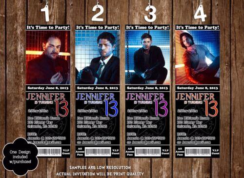 Supernatural - Sam, Dean, Castiel, Crowley - Birthday Party Invitation - 20 Pack