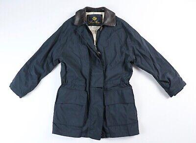Loro Piana Horsey Jacket Navy Blue Leather Collar Coat S Small