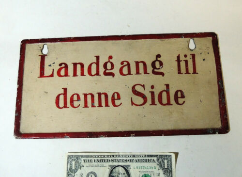 Antique vtg c1920s Norwegian Ship Hand Painted Sign LANDGANG Gangway Nautical