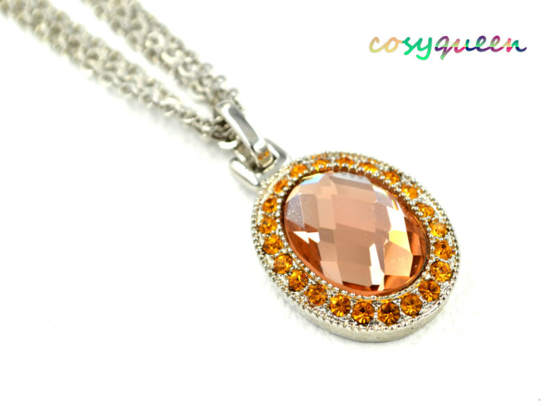 Swarovski Elements Crystal New Amber Topaz Oval Dome Silver Necklace Women Gift