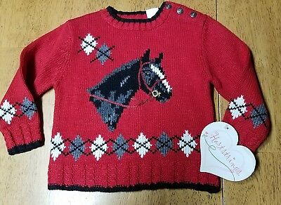 NWT HARTSTRINGS Red Intarsia HORSE Argyle Pull-over SWEATER 18 months msrp $44