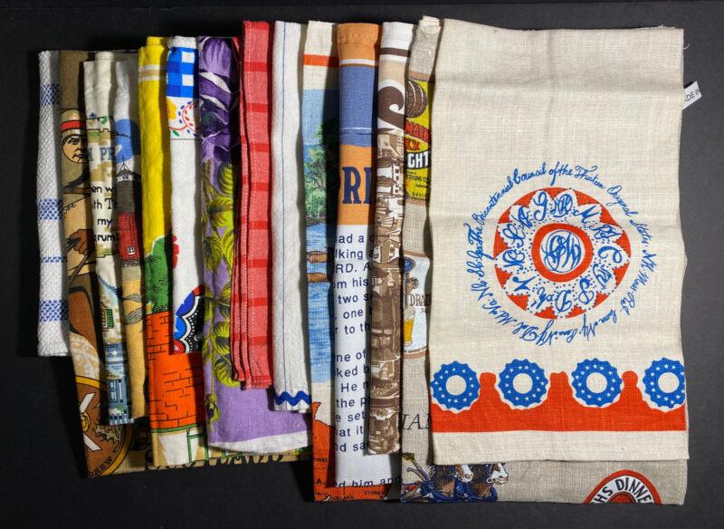 Vtg Lot 14 Printed Kitchen Tea Towels Mix Colors Floral Linen Embroidery Travel