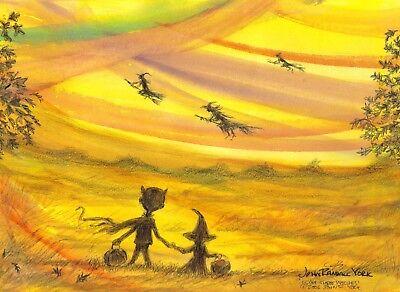 I SAW THREE WITCHES Halloween Sunset Children Signed Print by  JOHN RANDALL YORK - Halloween Sunset