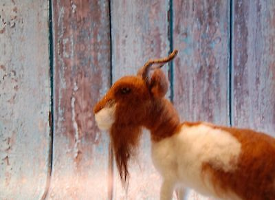 Needle Felted Brown White Goat Farm Animal Wool Art Handmade Sculpture
