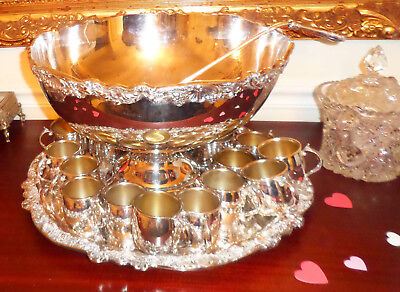 "Vintage Towle Silver Plate 15"" Wide Punch Bowl, 19"" Tray, 20 Cups & Ladle  NICE!"