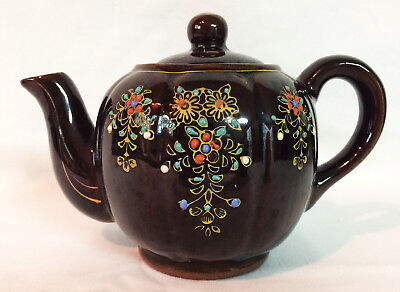 Vintage Round Brown Betty Glazed Pottery Teapot Hand Painted Flowers Japan