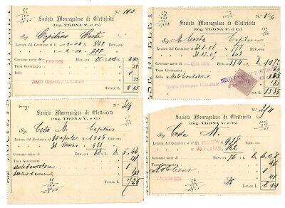 SOCIETA' MONREGALESE DI ELETTRICITA' MONDOVI' CUNEO ING. TRONA V. BOLLETTE 1906