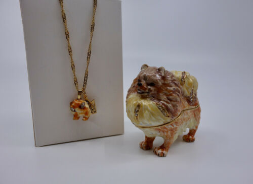 * WOW! POMERANIAN DOG BEJEWELED TRINKET BOX WITH MATCHING NECKLACE *