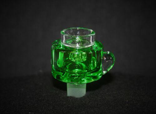 14mm Slide Bowl LIME GREEN FREEZABLE w/ STAR SCREEN 14 mm Freeze male