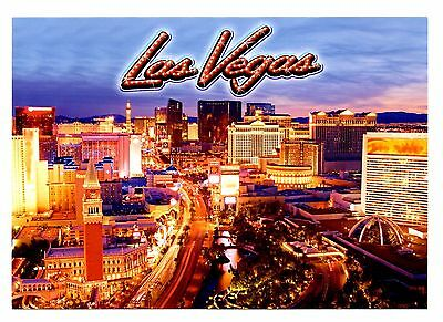 Las Vegas Strip Postcard Night Lights New Mirage Harrah's Caesars Palace Casinos