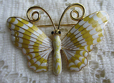 VINTAGE STYLE YELLOW WHITE ENAMEL GOLD TONE BUTTERFLY PIN BROOCH COSTUME JEWELRY
