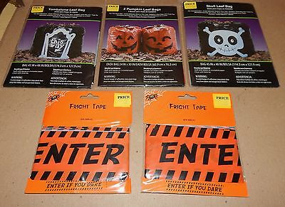 Ea Halloween (Halloween Fright Tape 2ea & Skull Pumpkin Tombstone Leaf Bags 3ea 45
