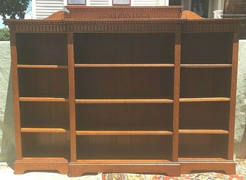 Antique Large Oak Antique Arts & Crafts Open Bookcase Adjustable Shelves Unusual