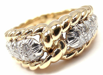 Authentic! VAN CLEEF & ARPELS Vintage 18k Yellow Gold Diamond Band Ring