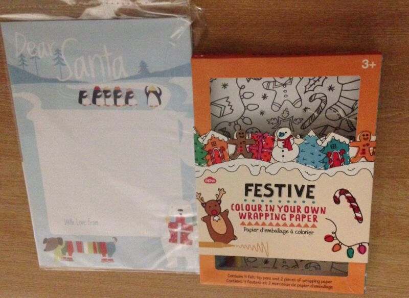 MYO+Christmas+Wrapping+Paper+Festive+Colouring+in+set+kit+pens+%2BFREE+John+Lewis