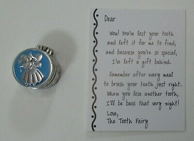 aa TOOTH FAIRY TRINKET Treasure BOX charm pink metal hinged angel boy blue ()