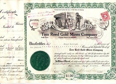 Us 425 Tom Reed Gold Mine Stock 100 Shares 1913  2 Scans  R197 R208   7289