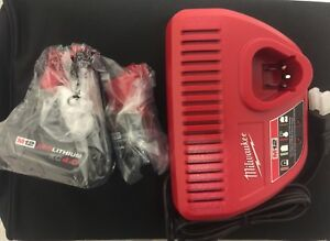 2 Milwaukee M12 batteries(2.0 amp & 4.0 amp) and Charger