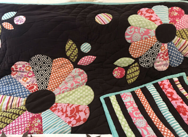 Pottery Barn Teen Funky Floral Patchwork Full/Queen Comforter Standard Shams EUC