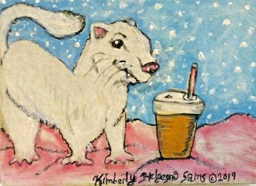 Ferret Collectible 8 x 10 Art Print Snowflake Mocha Signed Artist KSams Vintage