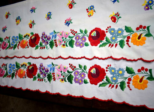 """Antique Hungarian KALOCSA  hand Embroidery drapery in pairs  88x32cm 34.64x12.6"""""""
