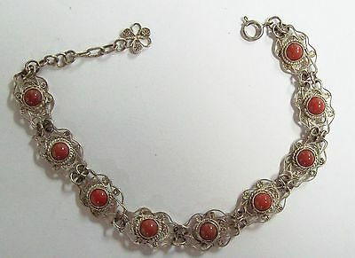 Vintage Asian 800 Silver Filigree & Coral Bracelet