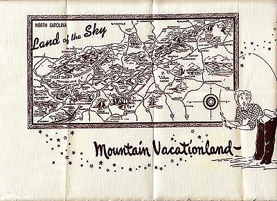 North Carolina Land of the Sky Mountain Vacationland Vintage Placemat Kitsch