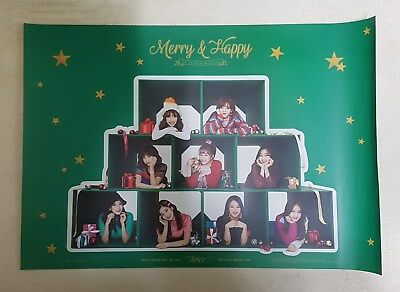 K-POP TWICE 1st Repackage Album [Merry & Happy] Merry Ver. OFFICIAL POSTER -NEW-