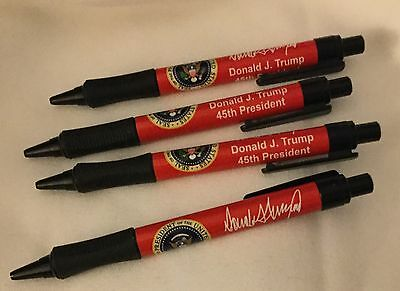 4 Red Pens Donald J  Trump  Signature 45Th President  Eagle Seal Pen Four