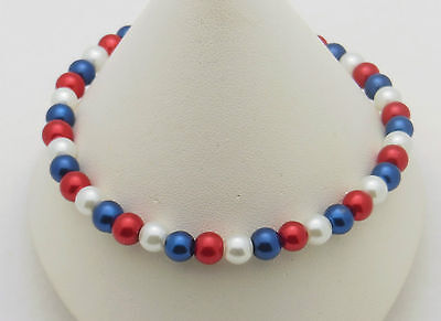 """American Flag Colors Red, White & Blue Stretch Pearl Anklet Ankle Bracelet - 10"""""""