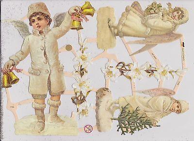 1 Bogen Glanzbilder Poesie Winter Engel mit glimmer ef 7154 Nr.286