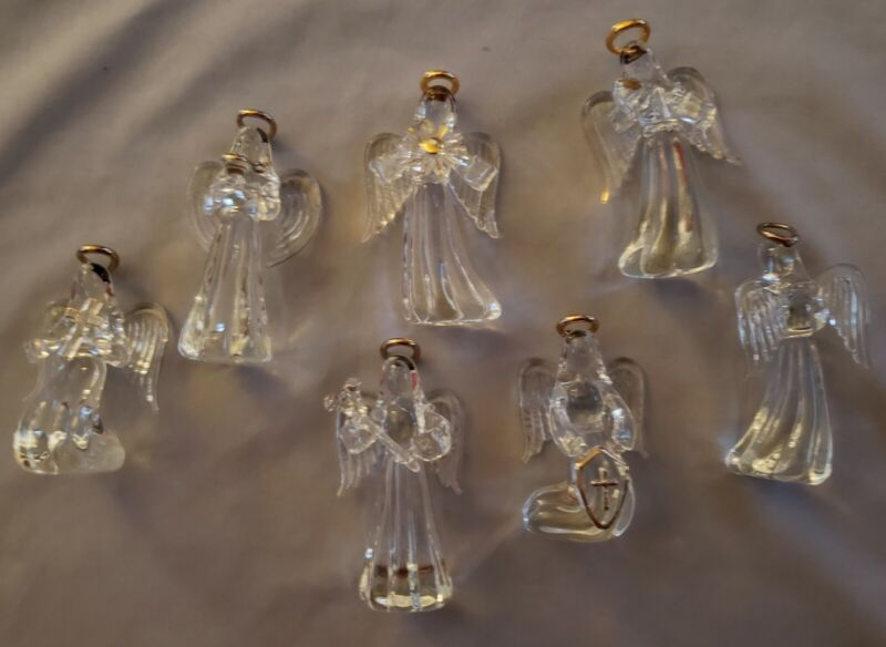 VINTAGE HAND BLOWN CLEAR GLASS ANGEL ORNAMENTS GOLD TRIM x 7